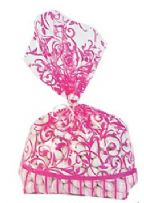 Hot Pink Swirl Cellophane Bags (12)